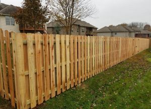 New Wood privacy fence in a springfield neighborhood