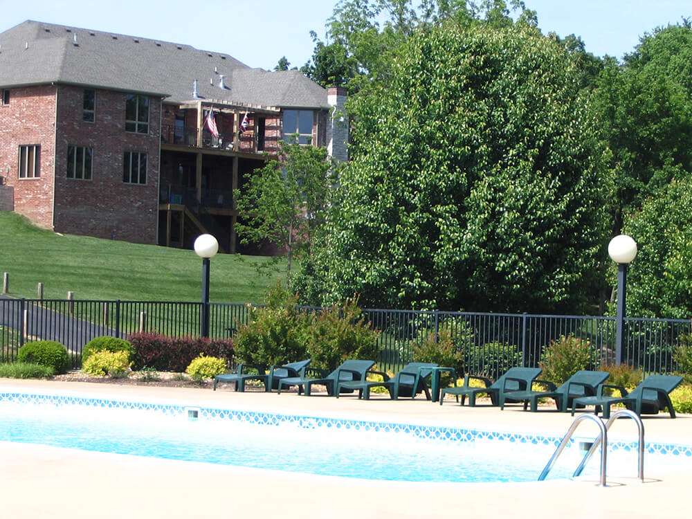 Pool Fence with light posts Carnahan-White Fence Company