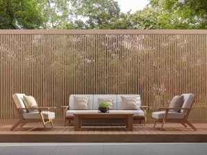 Comfortable home terrace with wooden brown fence